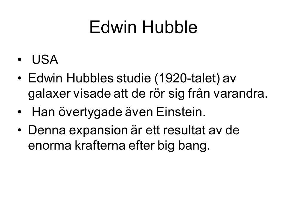 Edwin Hubble USA Edwin Hubbles studie (1920-talet) av galaxer visade att de rör sig från varandra.