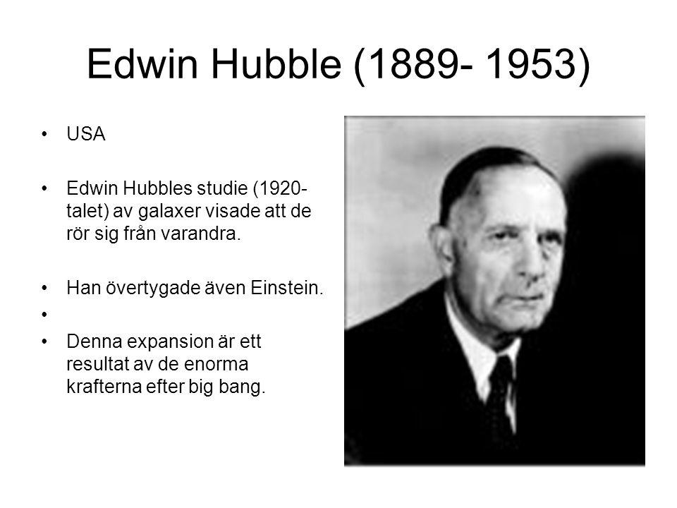 Edwin Hubble (1889- 1953) USA Edwin Hubbles studie (1920- talet) av galaxer visade att de rör sig från varandra.