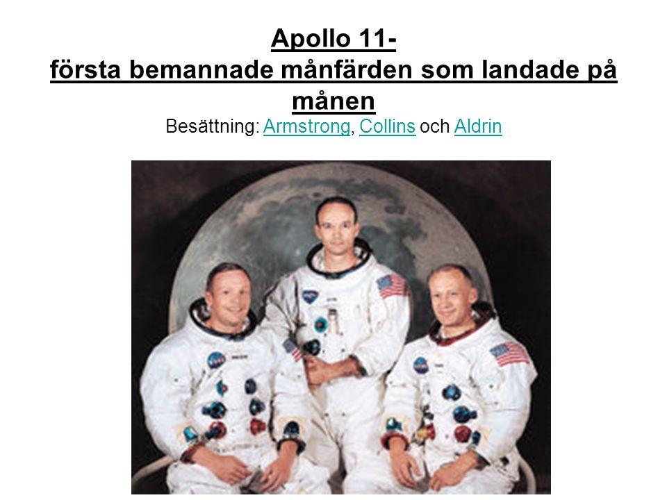 Apollo 11- första bemannade månfärden som landade på månen Besättning: Armstrong, Collins och AldrinArmstrongCollinsAldrin