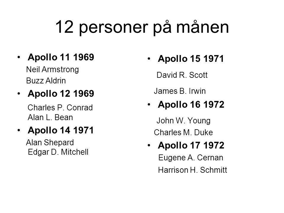 12 personer på månen Apollo 11 1969 Neil Armstrong Buzz Aldrin Apollo 12 1969 Charles P.
