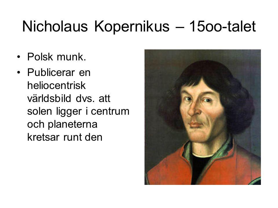 Nicholaus Kopernikus – 15oo-talet Polsk munk.Publicerar en heliocentrisk världsbild dvs.