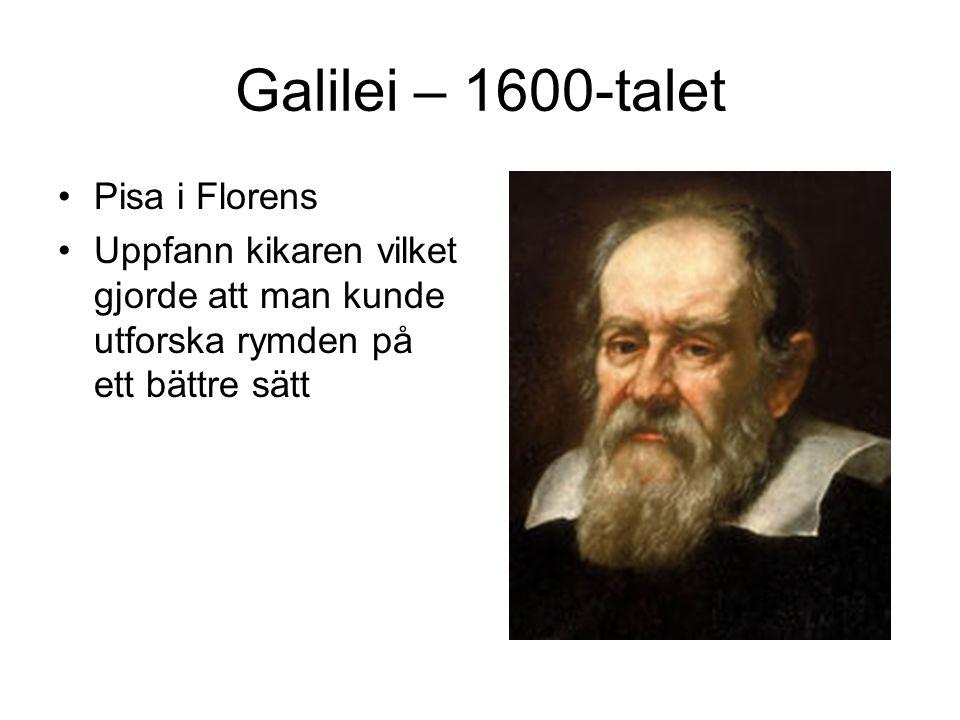 Galilei – 1600-talet Pisa i Florens Uppfann kikaren vilket gjorde att man kunde utforska rymden på ett bättre sätt