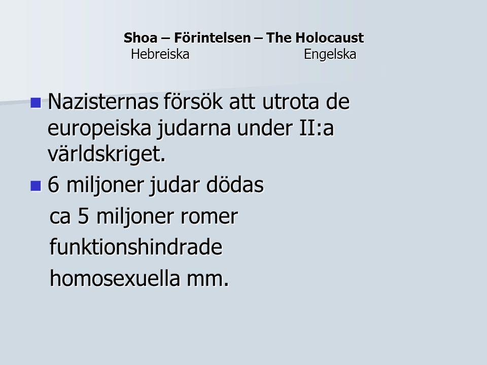 Shoa – Förintelsen – The Holocaust Hebreiska Engelska Nazisternas försök att utrota de europeiska judarna under II:a världskriget. Nazisternas försök