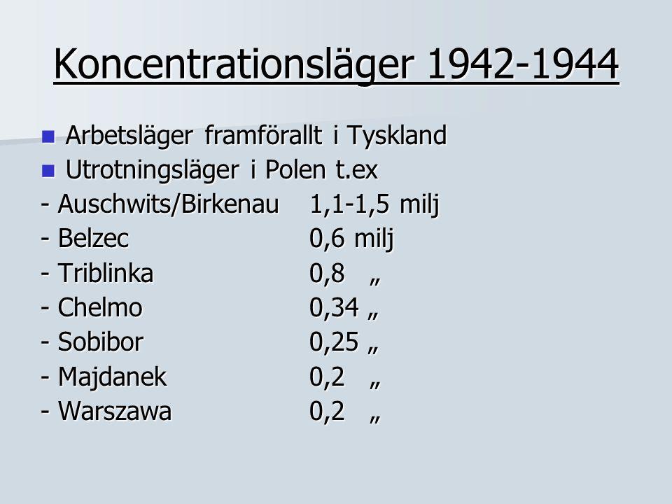 Koncentrationsläger 1942-1944 Arbetsläger framförallt i Tyskland Arbetsläger framförallt i Tyskland Utrotningsläger i Polen t.ex Utrotningsläger i Pol