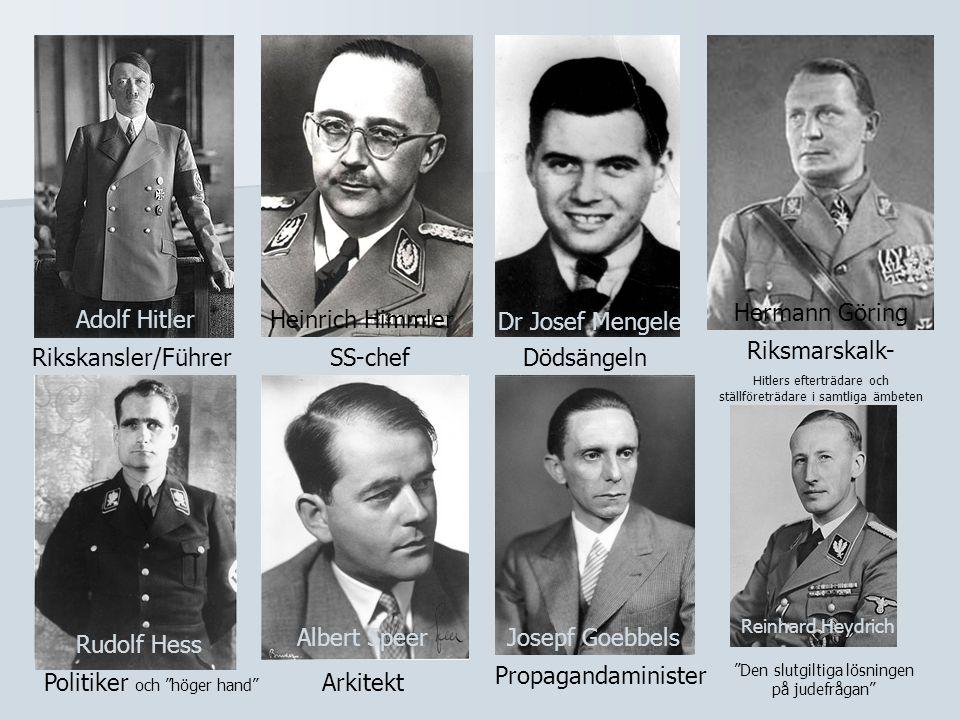 Adolf HitlerHeinrich Himmler Rikskansler/FührerSS-chef Dr Josef Mengele Dödsängeln Hermann Göring Riksmarskalk- Hitlers efterträdare och ställföreträd