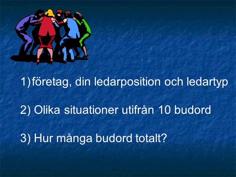 1)företag, din ledarposition och ledartyp 2) Olika situationer utifrån 10 budord 3) Hur många budord totalt?