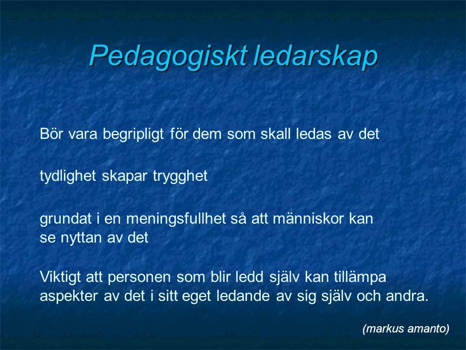 Pedagogiskt ledarskap Bör vara begripligt för dem som skall ledas av det tydlighet skapar trygghet grundat i en meningsfullhet så att människor kan se