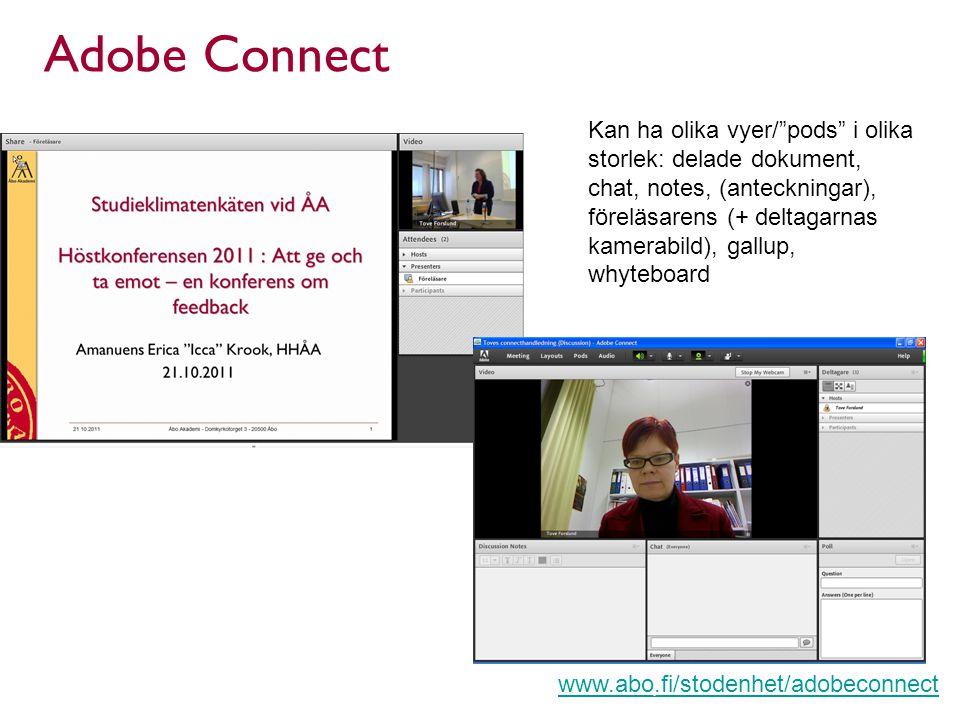 Adobe Connect Kan ha olika vyer/ pods i olika storlek: delade dokument, chat, notes, (anteckningar), föreläsarens (+ deltagarnas kamerabild), gallup, whyteboard www.abo.fi/stodenhet/adobeconnect Lärcentret, Åbo Akademi | Fänriksgatan 3 | 20500 Åbo
