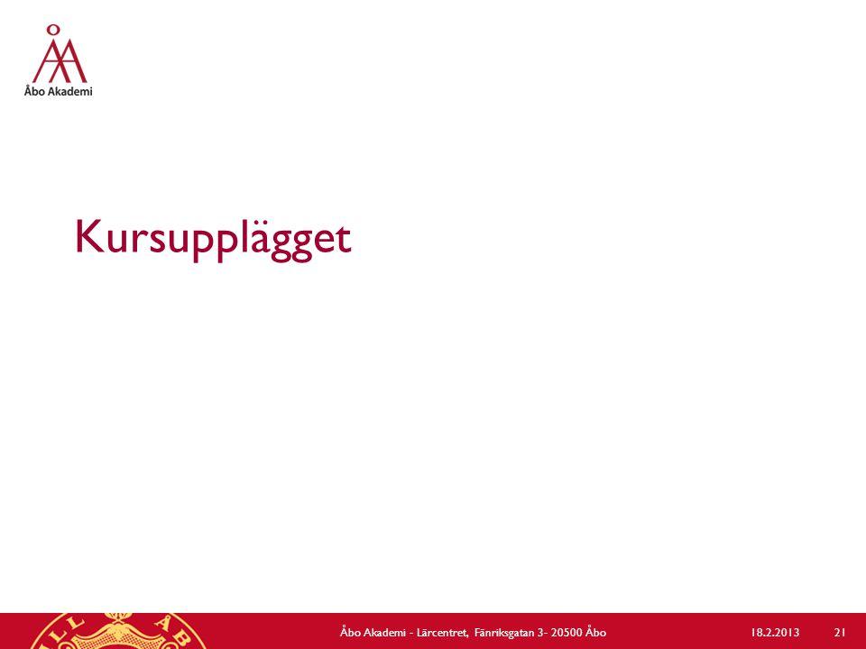 Kursupplägget 18.2.2013Åbo Akademi - Lärcentret, Fänriksgatan 3- 20500 Åbo 21