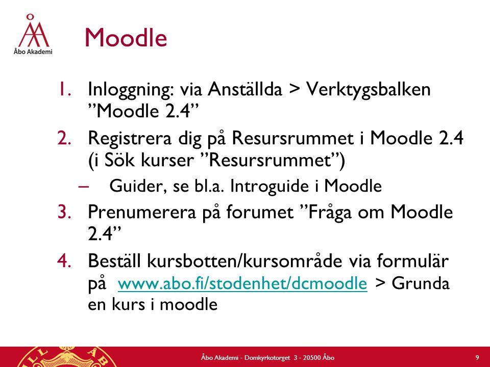 Åbo Akademi - Domkyrkotorget 3 - 20500 Åbo 9 Moodle 1.Inloggning: via Anställda > Verktygsbalken Moodle 2.4 2.Registrera dig på Resursrummet i Moodle 2.4 (i Sök kurser Resursrummet ) – Guider, se bl.a.