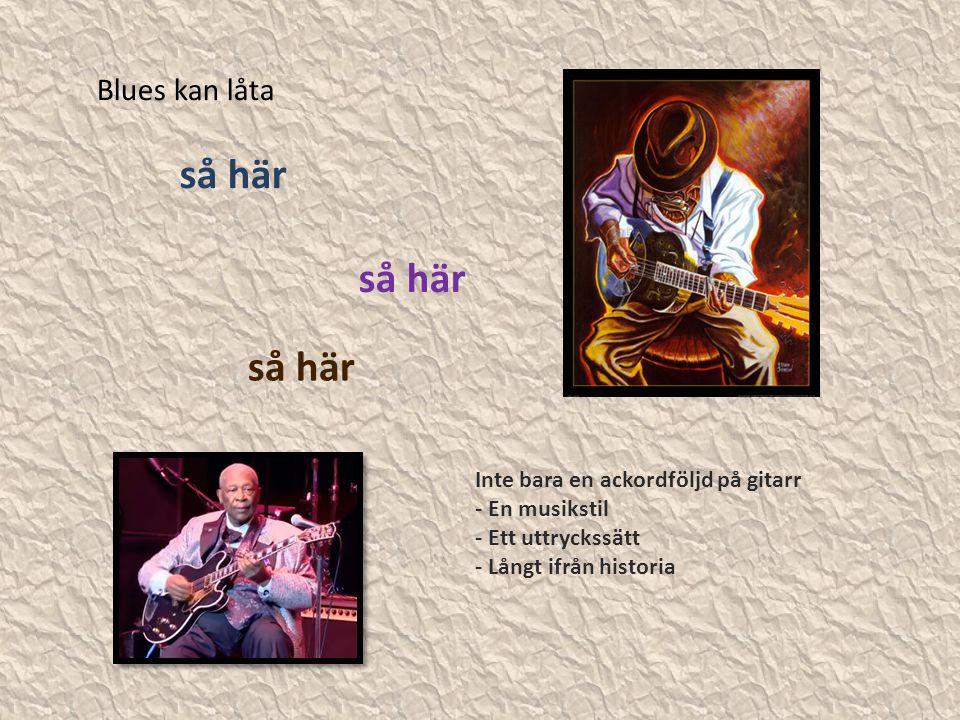 Blues kan låta så här Inte bara en ackordföljd på gitarr - En musikstil - Ett uttryckssätt - Långt ifrån historia