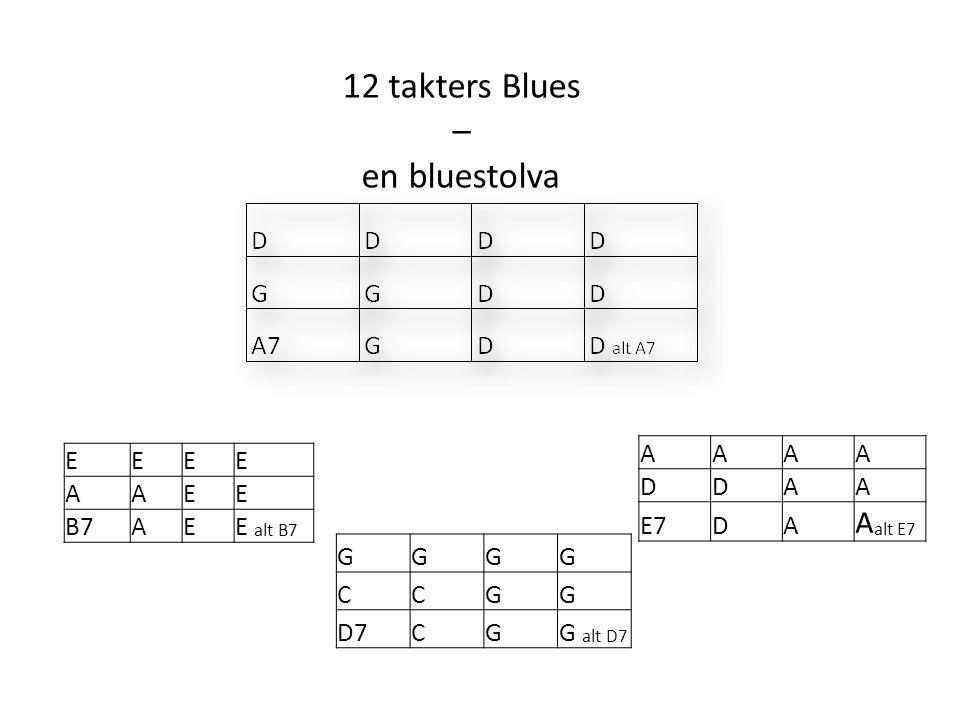 12 takters Blues – en bluestolva EEEE AAEE B7AEE alt B7 GGGG CCGG D7CGG alt D7 AAAA DDAA E7DA A alt E7