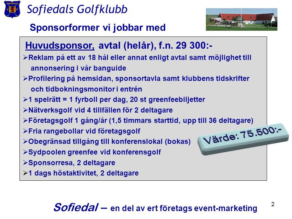 2 Sponsorformer vi jobbar med Huvudsponsor, avtal (helår), f.n. 29 300:-  Reklam på ett av 18 hål eller annat enligt avtal samt möjlighet till annons