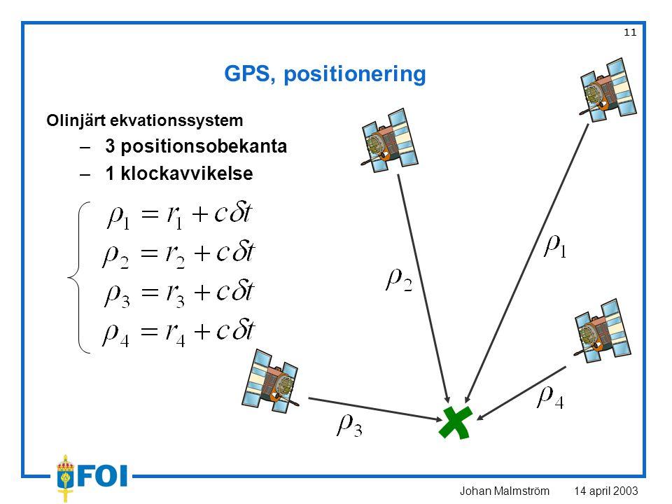 Johan Malmström 14 april 2003 11 GPS, positionering Olinjärt ekvationssystem –3 positionsobekanta –1 klockavvikelse