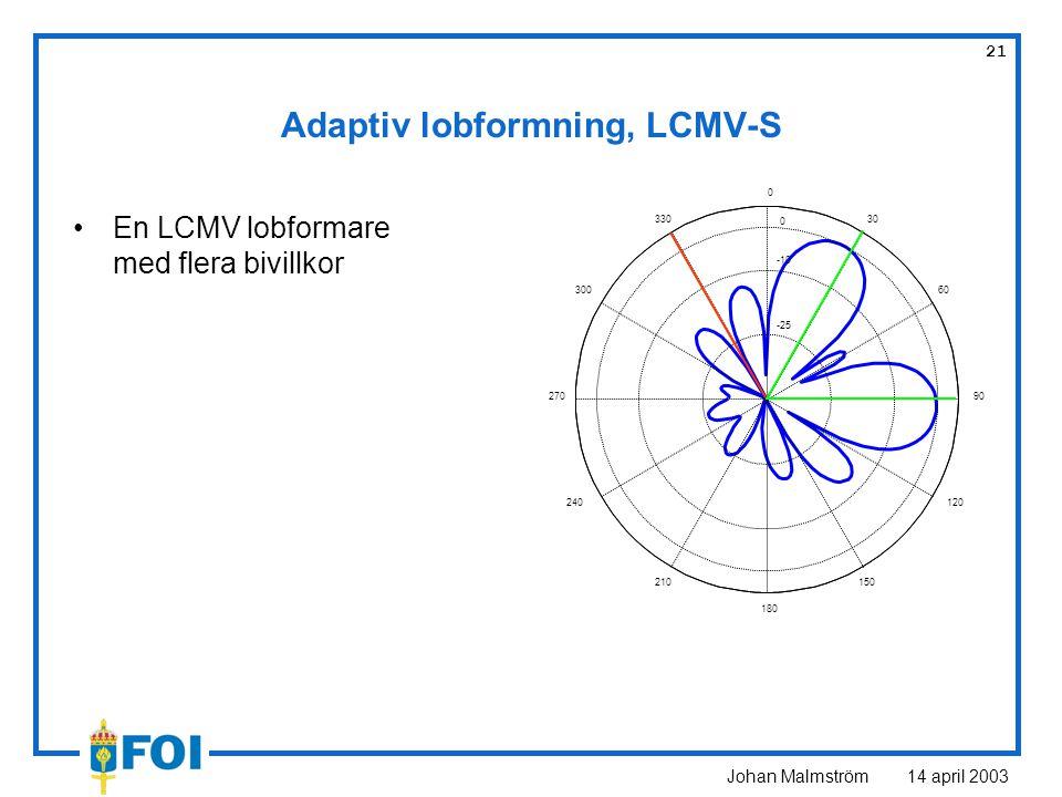 Johan Malmström 14 april 2003 21 Adaptiv lobformning, LCMV-S En LCMV lobformare med flera bivillkor -25 -10 30 210 60 240 90270 120 300 150 330 180 0 0