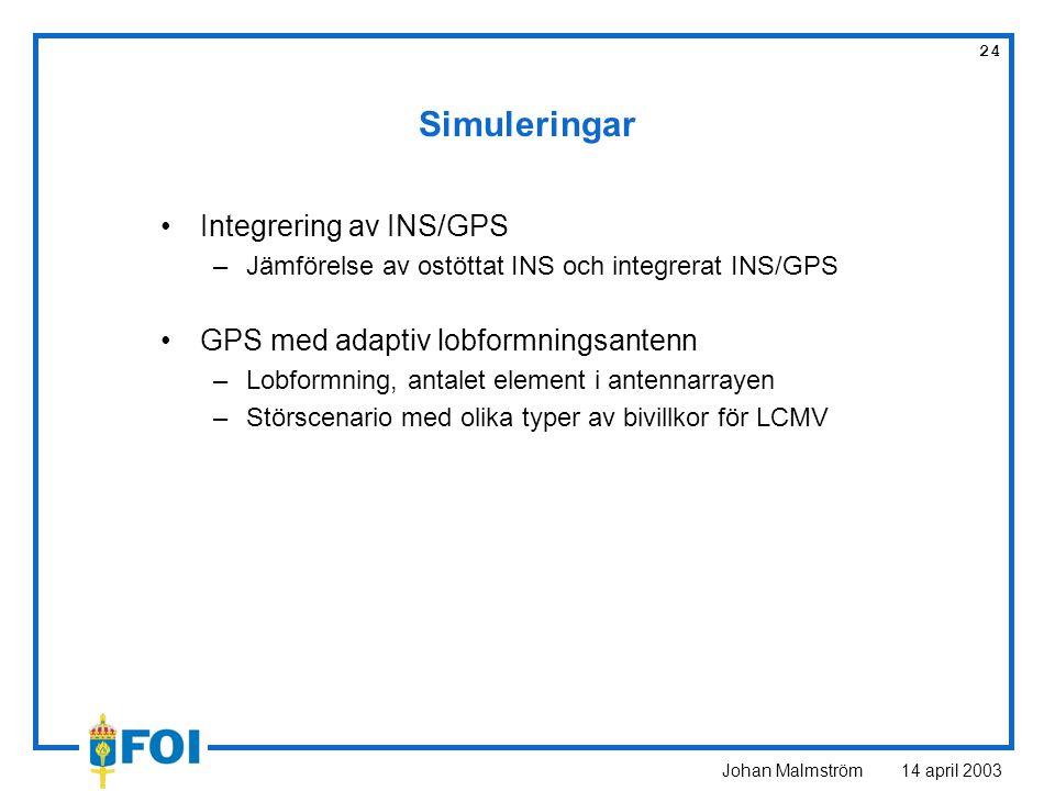 Johan Malmström 14 april 2003 24 Simuleringar Integrering av INS/GPS –Jämförelse av ostöttat INS och integrerat INS/GPS GPS med adaptiv lobformningsan