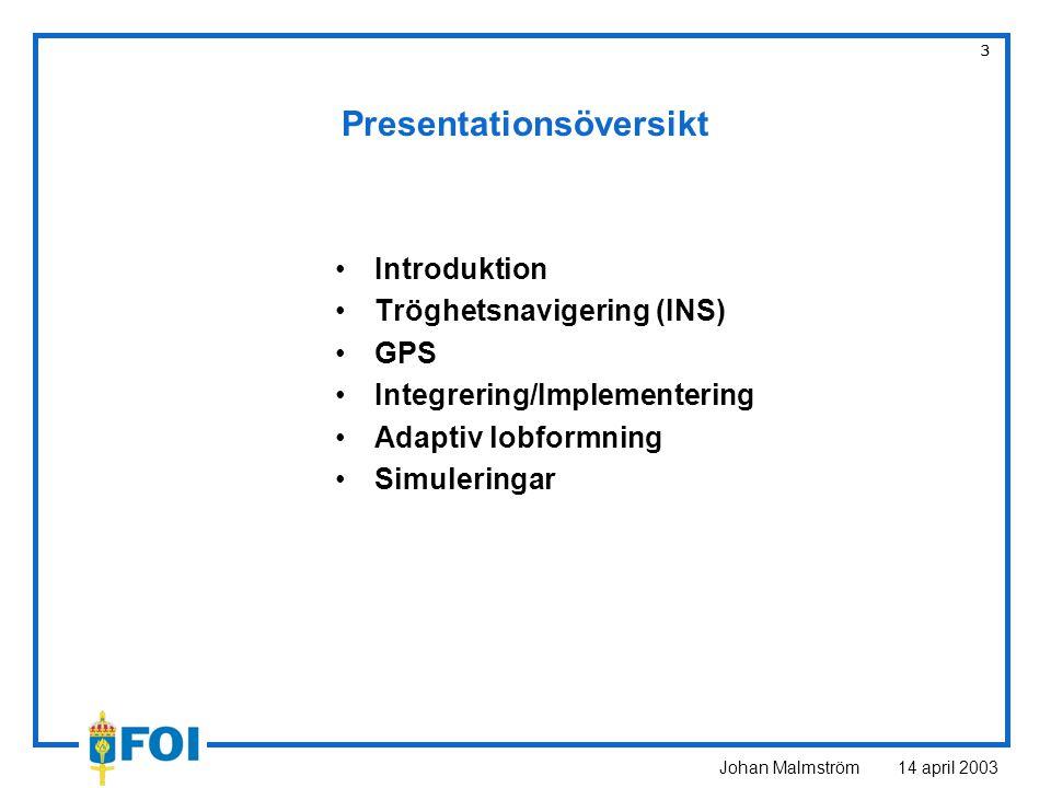 Johan Malmström 14 april 2003 24 Simuleringar Integrering av INS/GPS –Jämförelse av ostöttat INS och integrerat INS/GPS GPS med adaptiv lobformningsantenn –Lobformning, antalet element i antennarrayen –Störscenario med olika typer av bivillkor för LCMV