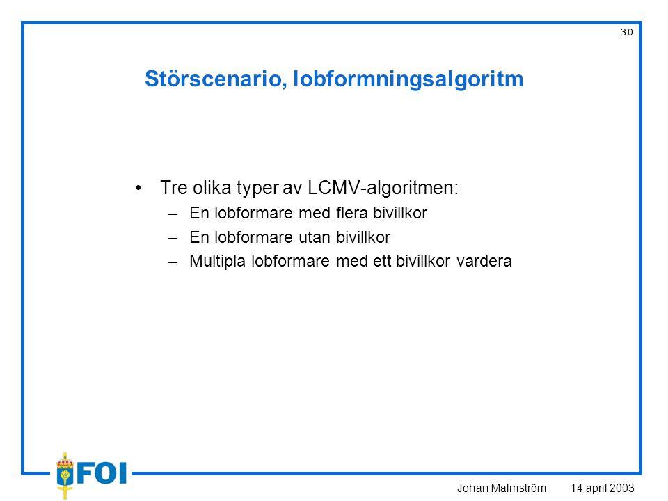 Johan Malmström 14 april 2003 30 Störscenario, lobformningsalgoritm Tre olika typer av LCMV-algoritmen: –En lobformare med flera bivillkor –En lobform