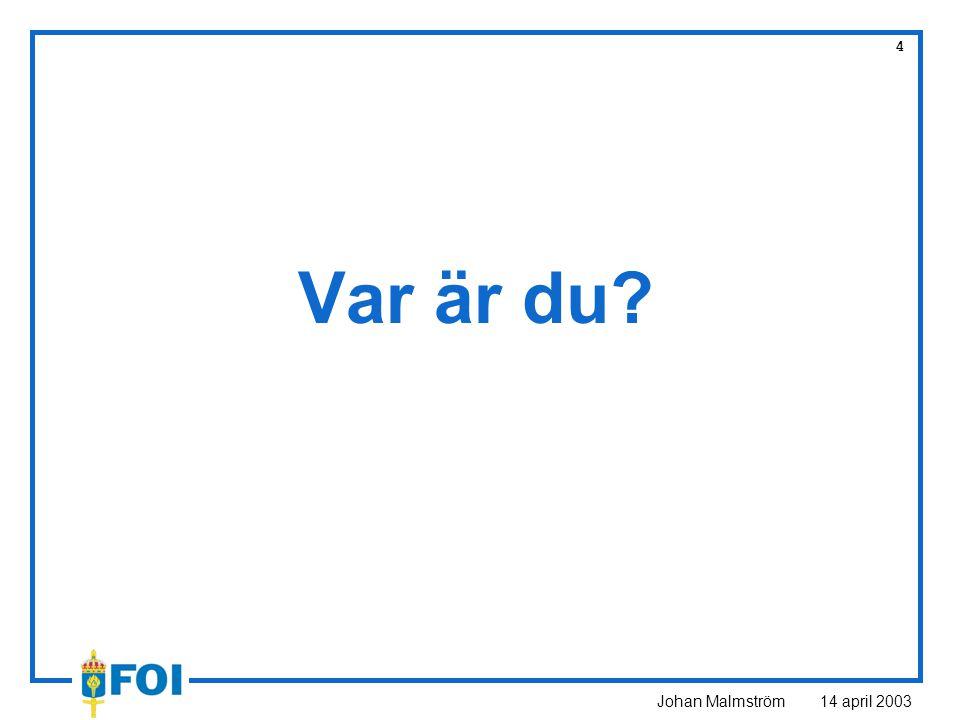 Johan Malmström 14 april 2003 5 Egenskaper INS och GPS INSGPS StörtålighetVäldigt braDålig FeltillväxtObegränsadBegränsad MättaktHögLåg DynamikBraDålig
