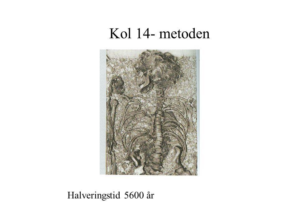 Kol 14- metoden Halveringstid 5600 år