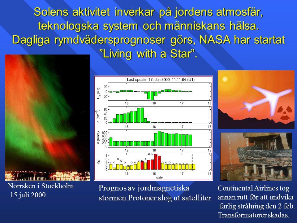 """Solens aktivitet inverkar på jordens atmosfär, teknologska system och människans hälsa. Dagliga rymdvädersprognoser görs, NASA har startat """"Living wit"""