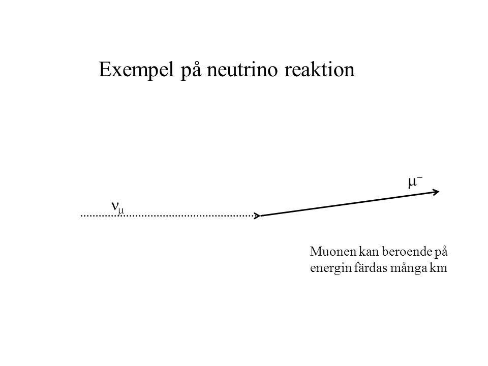 Exempel på neutrino reaktion   Muonen kan beroende på energin färdas många km