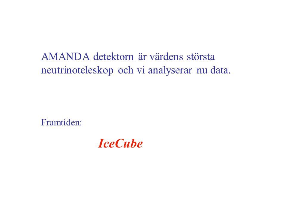 AMANDA detektorn är värdens största neutrinoteleskop och vi analyserar nu data. Framtiden: IceCube