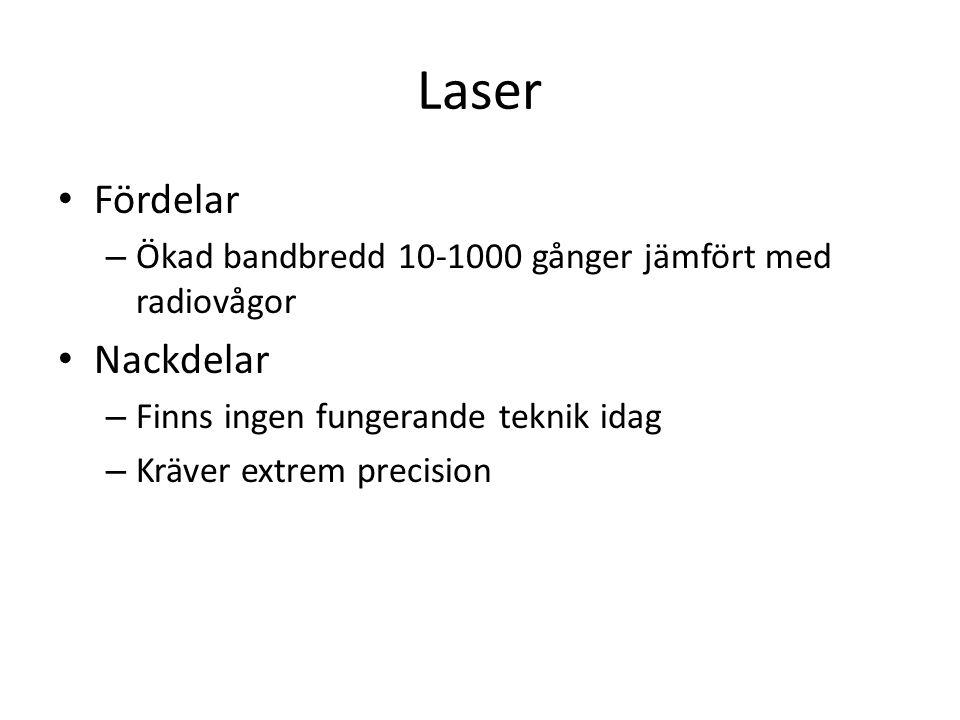 Laser Fördelar – Ökad bandbredd 10-1000 gånger jämfört med radiovågor Nackdelar – Finns ingen fungerande teknik idag – Kräver extrem precision