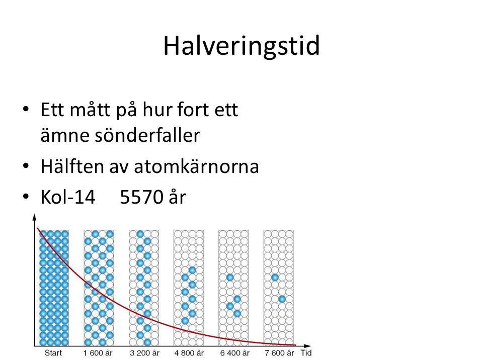 Halveringstid Ett mått på hur fort ett ämne sönderfaller Hälften av atomkärnorna Kol-14 5570 år
