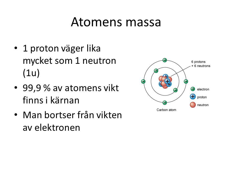 Atomnummer och masstal Atomnummer= antalet protoner Masstal= antalet protoner + neutroner