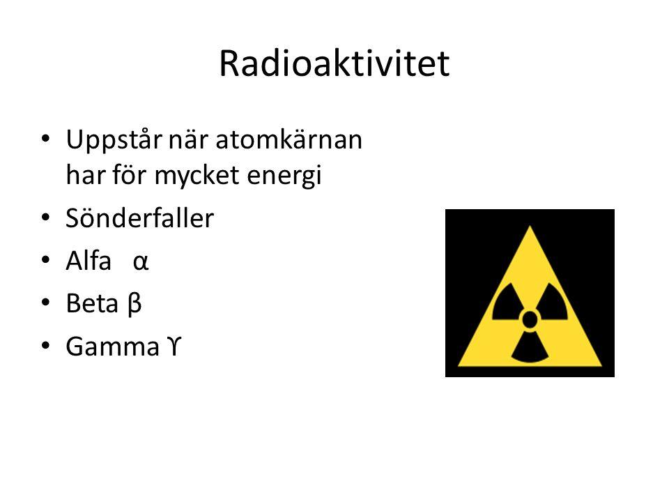 Radioaktivitet Uppstår när atomkärnan har för mycket energi Sönderfaller Alfa α Beta β Gamma ϒ