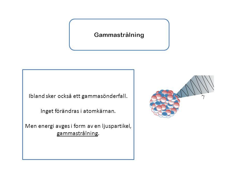 Gammastrålning Ibland sker också ett gammasönderfall. Inget förändras i atomkärnan. Men energi avges i form av en ljuspartikel, gammastrålning.