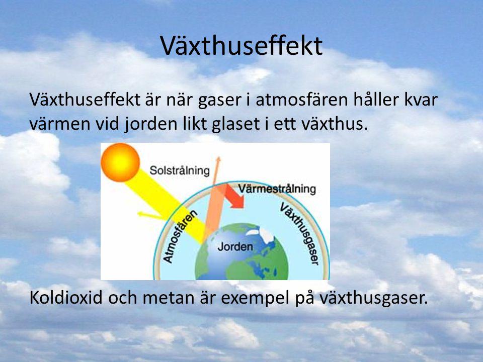 Växthuseffekt Växthuseffekt är när gaser i atmosfären håller kvar värmen vid jorden likt glaset i ett växthus. Koldioxid och metan är exempel på växth