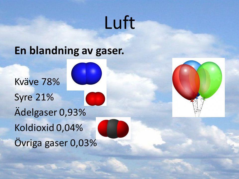Luft En blandning av gaser. Kväve 78% Syre 21% Ädelgaser 0,93% Koldioxid 0,04% Övriga gaser 0,03%