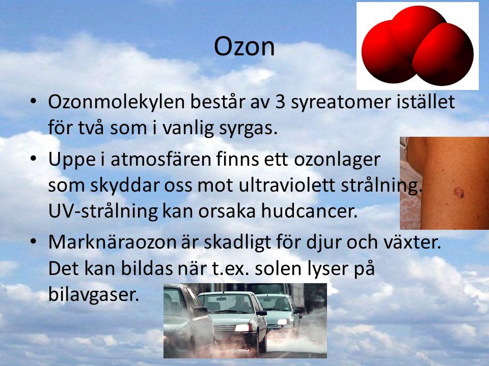 Ozon Ozonmolekylen består av 3 syreatomer istället för två som i vanlig syrgas. Uppe i atmosfären finns ett ozonlager som skyddar oss mot ultraviolett
