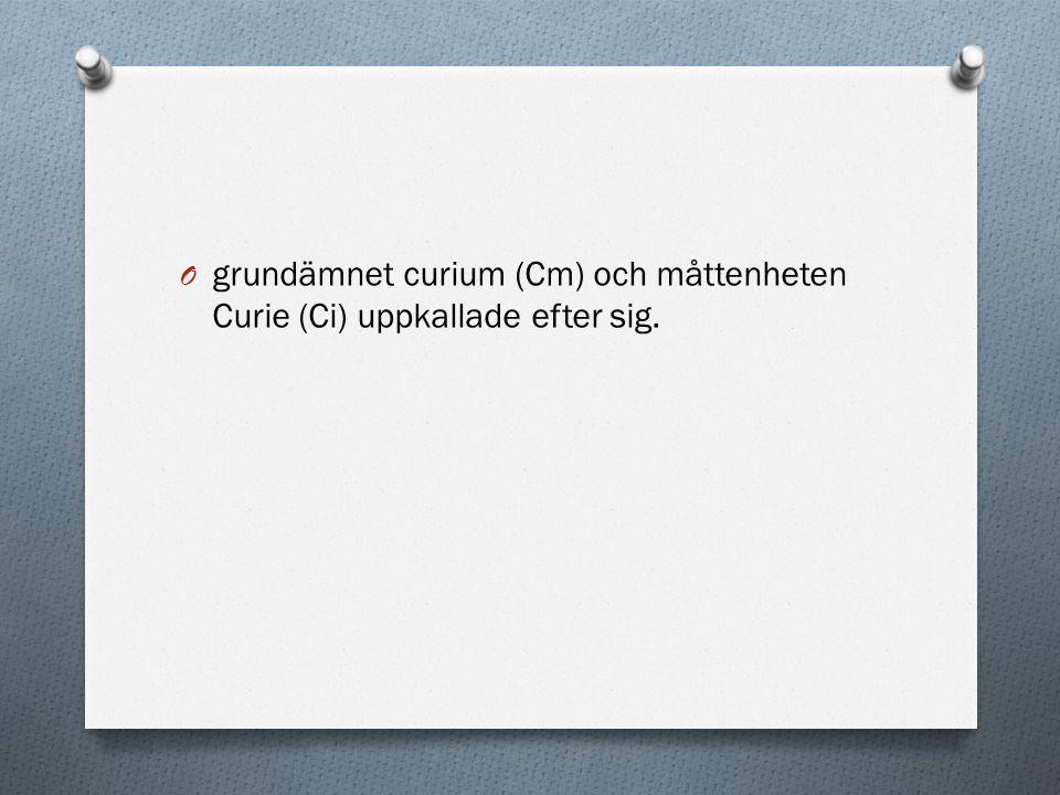 O grundämnet curium (Cm) och måttenheten Curie (Ci) uppkallade efter sig.