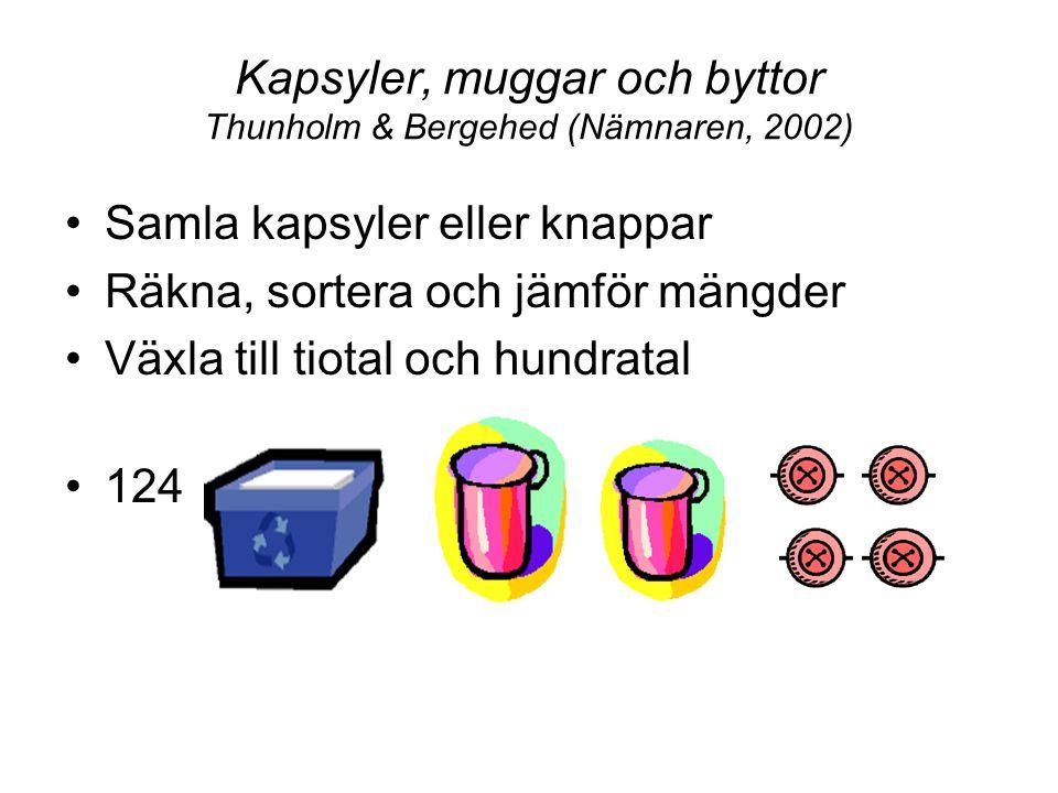 Kapsyler, muggar och byttor Thunholm & Bergehed (Nämnaren, 2002) Samla kapsyler eller knappar Räkna, sortera och jämför mängder Växla till tiotal och