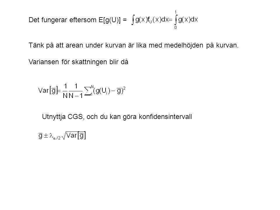 Utnyttja CGS, och du kan göra konfidensintervall Det fungerar eftersom E[g(U)] = Tänk på att arean under kurvan är lika med medelhöjden på kurvan.