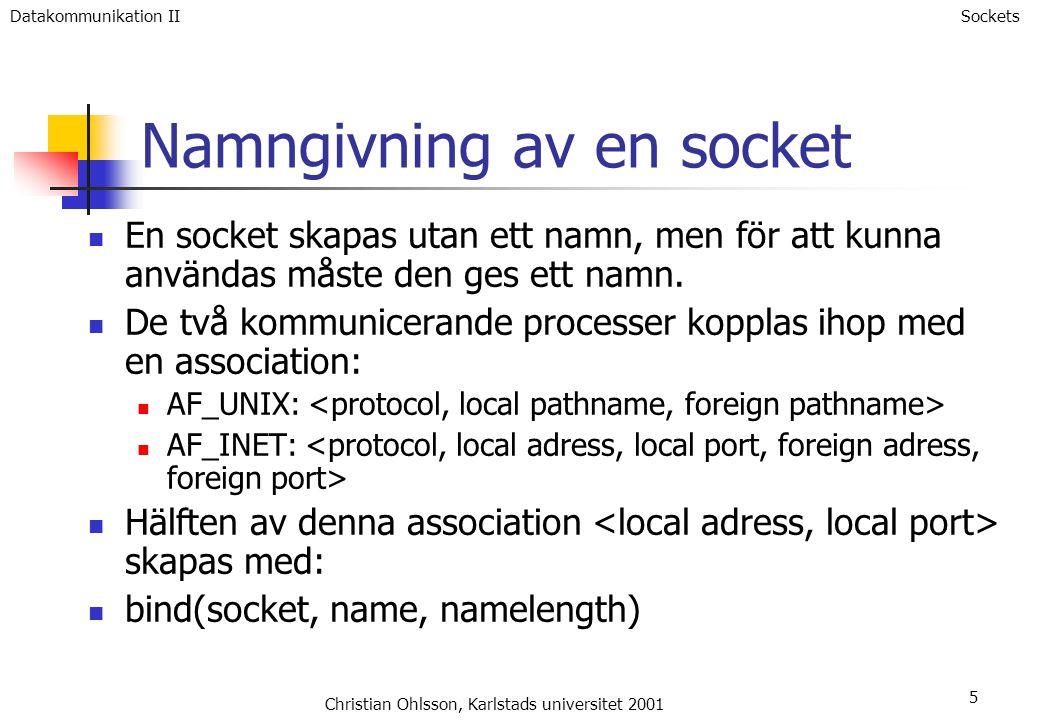 5 Namngivning av en socket En socket skapas utan ett namn, men för att kunna användas måste den ges ett namn.