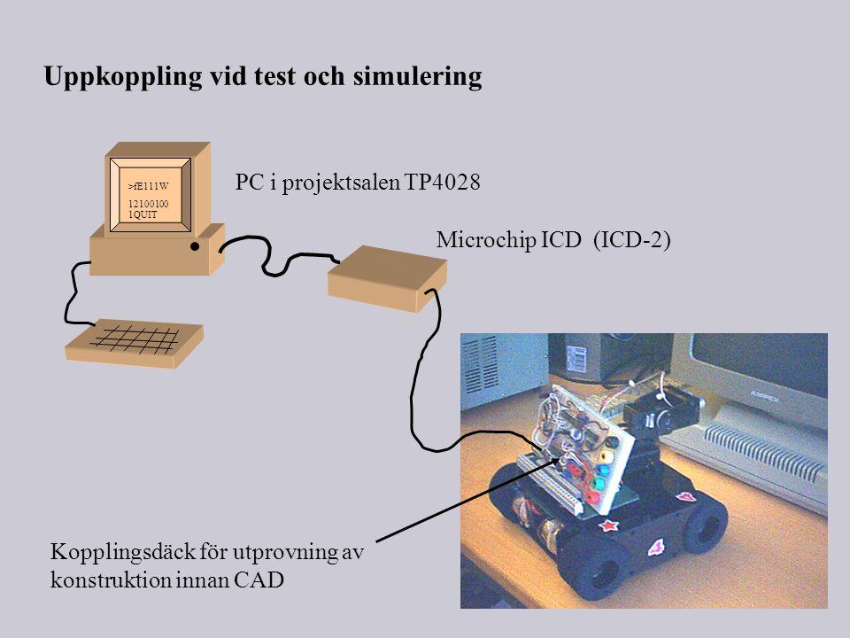 Uppkoppling vid test och simulering PC i projektsalen TP4028 Microchip ICD (ICD-2) >fE111W 12100100 1QUIT Kopplingsdäck för utprovning av konstruktion innan CAD