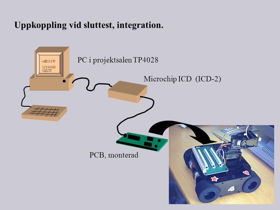 PC i projektsalen TP4028 Microchip ICD (ICD-2) >fE111W 12100100 1QUIT Uppkoppling vid sluttest, integration.