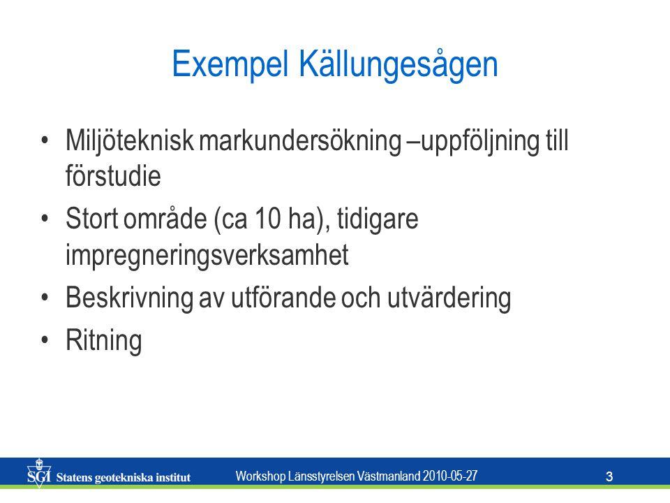 Workshop Länsstyrelsen Västmanland 2010-05-27 3 Exempel Källungesågen Miljöteknisk markundersökning –uppföljning till förstudie Stort område (ca 10 ha), tidigare impregneringsverksamhet Beskrivning av utförande och utvärdering Ritning