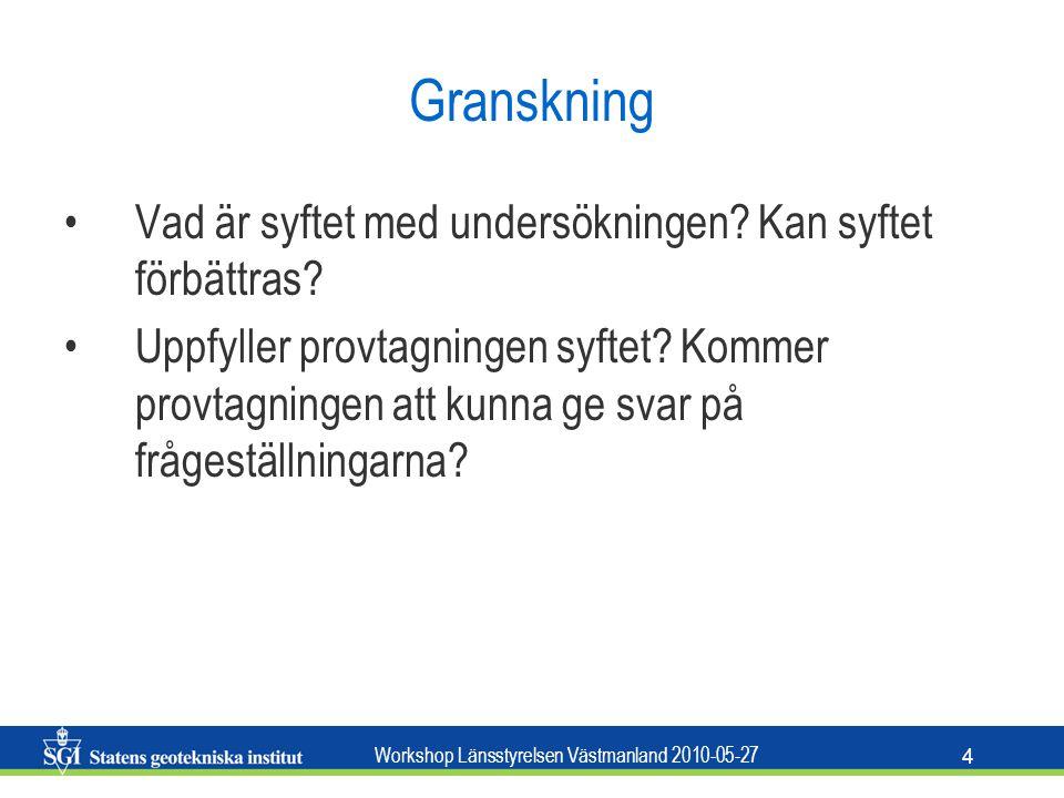 Workshop Länsstyrelsen Västmanland 2010-05-27 4 Granskning Vad är syftet med undersökningen.