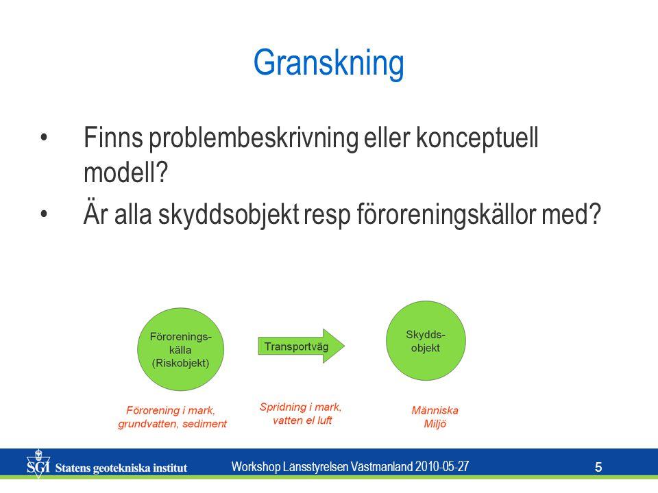 Workshop Länsstyrelsen Västmanland 2010-05-27 5 Granskning Finns problembeskrivning eller konceptuell modell.