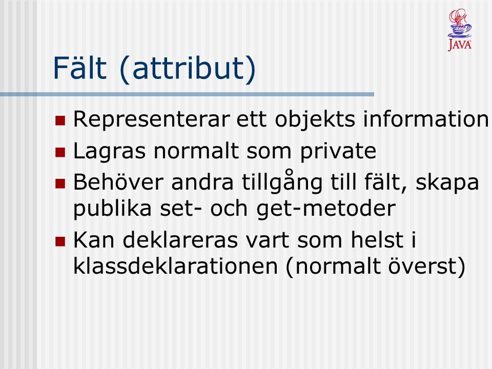 Fält (attribut) Representerar ett objekts information Lagras normalt som private Behöver andra tillgång till fält, skapa publika set- och get-metoder Kan deklareras vart som helst i klassdeklarationen (normalt överst)
