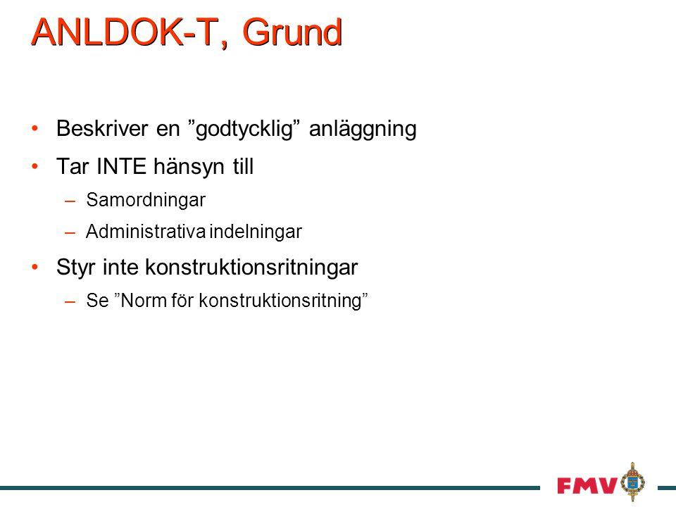 ANLDOK-T, Grund Beskriver en godtycklig anläggning Tar INTE hänsyn till –Samordningar –Administrativa indelningar Styr inte konstruktionsritningar –Se Norm för konstruktionsritning