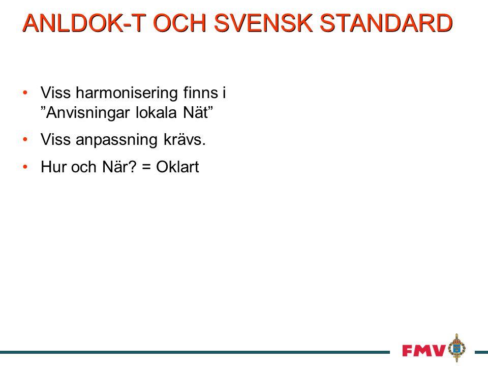 ANLDOK-T OCH SVENSK STANDARD Viss harmonisering finns i Anvisningar lokala Nät Viss anpassning krävs.