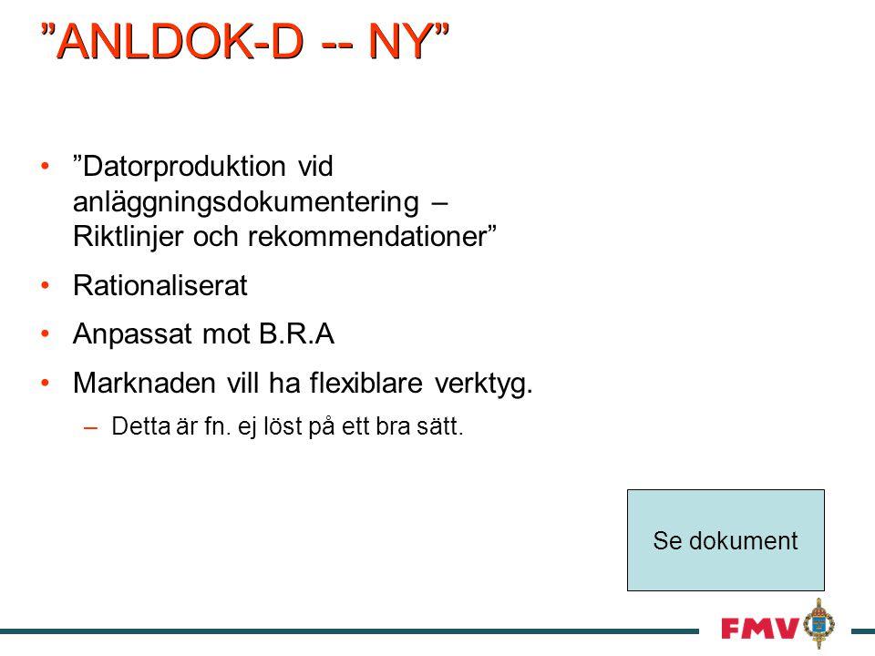 ANLDOK-D -- NY Datorproduktion vid anläggningsdokumentering – Riktlinjer och rekommendationer Rationaliserat Anpassat mot B.R.A Marknaden vill ha flexiblare verktyg.