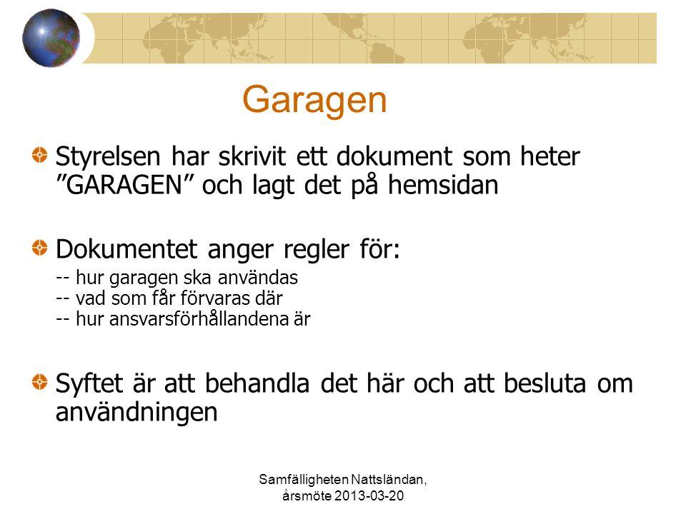 """Samfälligheten Nattsländan, årsmöte 2013-03-20 Garagen Styrelsen har skrivit ett dokument som heter """"GARAGEN"""" och lagt det på hemsidan Dokumentet ange"""
