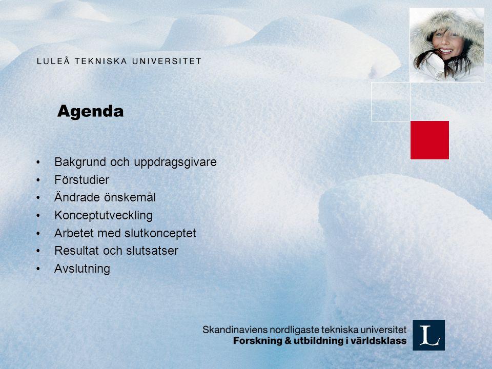 Agenda Bakgrund och uppdragsgivare Förstudier Ändrade önskemål Konceptutveckling Arbetet med slutkonceptet Resultat och slutsatser Avslutning